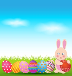 Colorful eggs and cute bunny for Easter day vector image