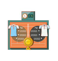 court of tennis sport with accesories vector image
