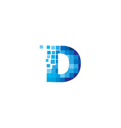 creative blue d letter pixel logo design symbol vector image