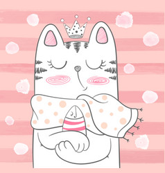 Cute princess cat with fish vector