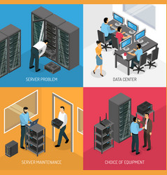 Datacenter 2x2 isometric design concept vector