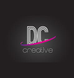 Dc d c letter logo with lines design and purple vector