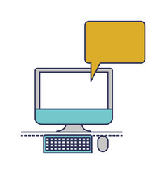 Desktop computer with bubble dialogue in colorful vector