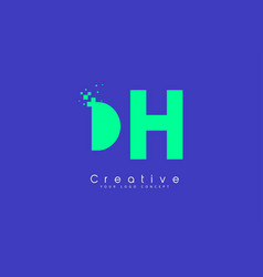 Dh letter logo design with negative space concept vector