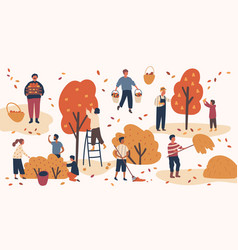 Different people picking fruits and berries vector