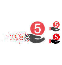Disappearing dot halftone five cents payment icon vector