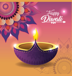 diwali vassel lit with mandala and lights vector image