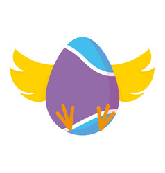 easter egg painted with chick wings and foots vector image