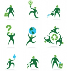 Eco man icons vector