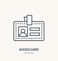 Employee access card identity flat line vector