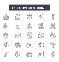 Executive mentoring line icons signs set vector