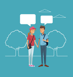 friend talking cartoon vector image