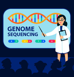 Genome sequencing concept female scientist makes vector