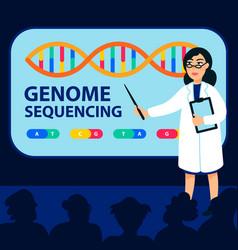 Genome sequencing concept female scientist makes vector