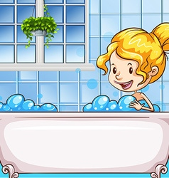 Girl in bath with bubbles vector image