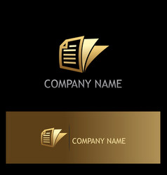 gold document paper business logo vector image