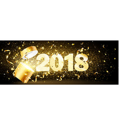 golden gift with confetti 2018 vector image