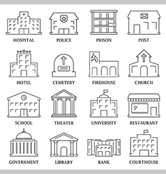 Government building icons set vector