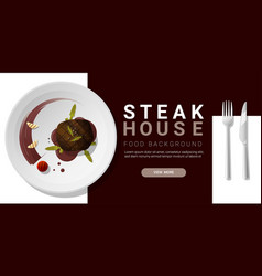 Grilled beef tenderloin steak background vector
