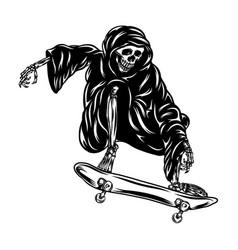 grim using hood and playing skateboard vector image