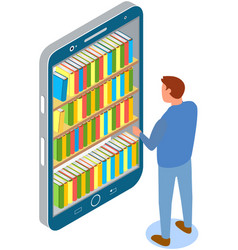 guy looks at screen with virtual bookshelves vector image