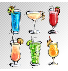 Hand drawn set cocktails vector