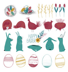 Happy easter collection with funny elements vector