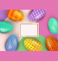 happy easter colorful decorated eggs on abstract vector image