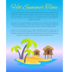 hot summer time blue poster vector image