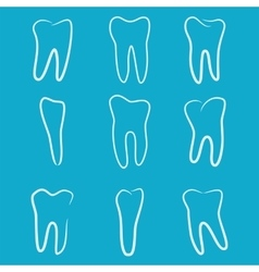 Human teeth icons set isolated on blue background vector