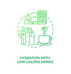 Hydration with low calorie drinks dark green vector