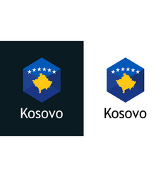 icon kosovo flag on black and white vector image