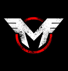 Initial m wing rustic emblem graphic vector