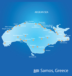 Island of samos in greece map in colorful vector