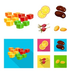 Isolated object of food and raw logo set of food vector