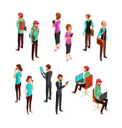 isometric 3d business people isolated office man vector image