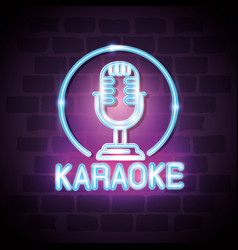Karaoke bar neon label vector