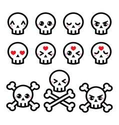 Kawaii cute Halloween skull icons set vector