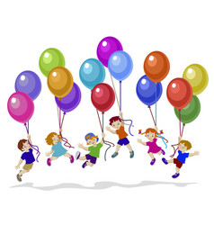 kids flying vector image
