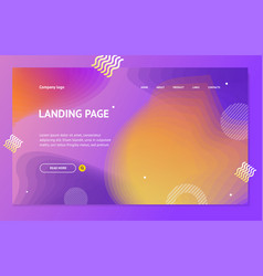 landing page template on abstract color background vector image