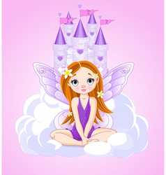 Little cute fairy and a castle vector image