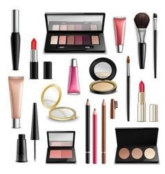 Makeup cosmetics accessories realisticitems vector