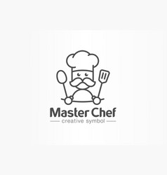 master chef creative symbol concept cook mustache vector image