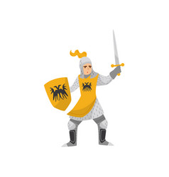 Medieval armored knight warrior character fighting vector