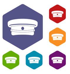 Military hat icons set hexagon vector