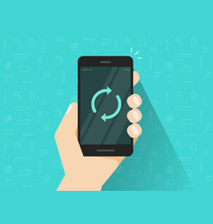 mobile phone updating flat cartoon vector image