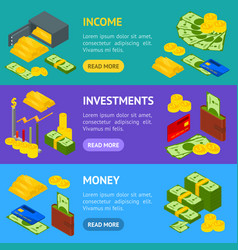 money banner horizontal set isometric view vector image
