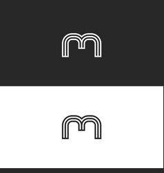 monogram m letter minimal style initial logo vector image