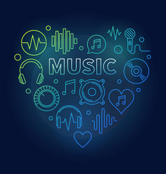 music heart colored in thin vector image