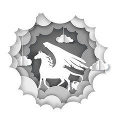 mythological pegasus in clouds vector image